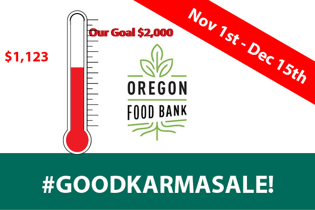 Good Karma Sale: Donating three percent to the Oregon Food Bank this season when you buy online